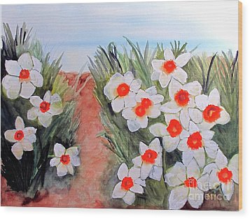 Wood Print featuring the painting Daffodils by Sandy McIntire