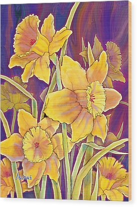 Wood Print featuring the mixed media Daffodils by Teresa Ascone