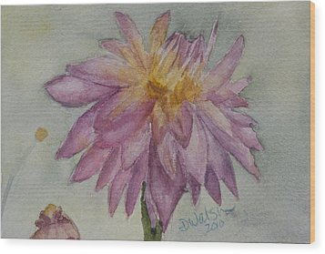 Wood Print featuring the painting Dahlia At Eastport Me by Donna Walsh