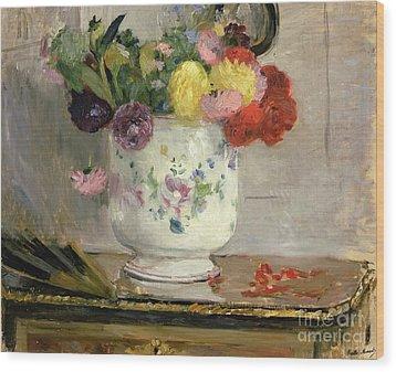 Dahlias Wood Print by Berthe Morisot