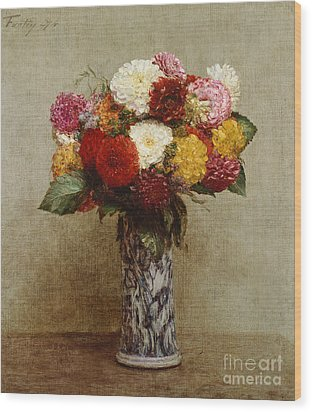 Dahlias In A Chinese Vase Wood Print by Ignace Henri Jean Fantin-Latour