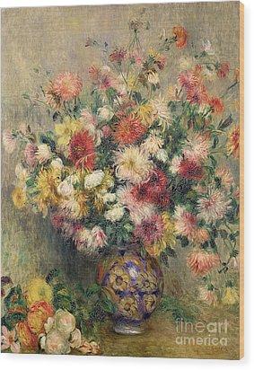 Dahlias Wood Print by Pierre Auguste Renoir