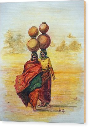 Daily Desert Dance Wood Print by Alika Kumar