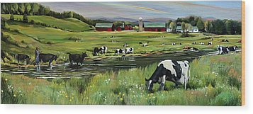 Wood Print featuring the painting Dairy Farm Dream by Nancy Griswold