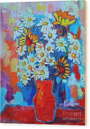 Daisies And Sunflowers Wood Print by Ana Maria Edulescu