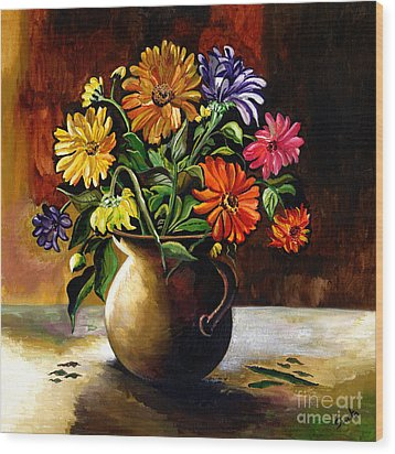 Daisies From My Garden Wood Print by Sweta Prasad