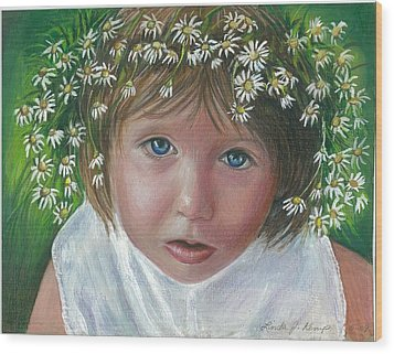 Daisies In My Hair Wood Print