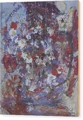 Wood Print featuring the painting Daisies In Purple by Avonelle Kelsey