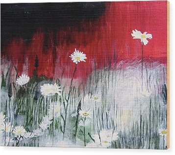 Daisies Wood Print by Mary Ellen Frazee