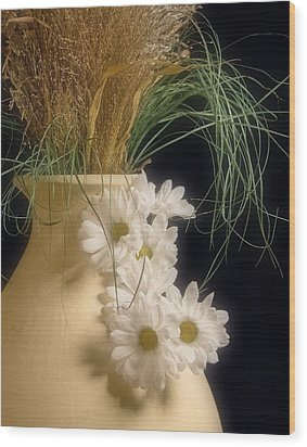 Daisies On The Side Wood Print by Tom Mc Nemar