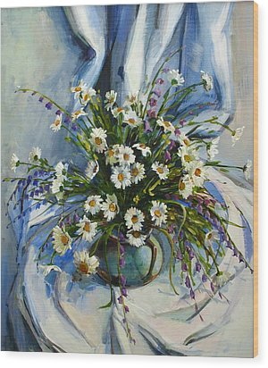 Wood Print featuring the painting Daisies by Tigran Ghulyan