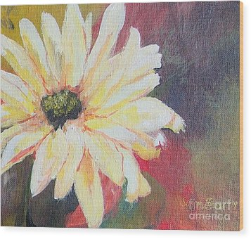 Daisy 3 Of 3 Triptych Wood Print by Susan Fisher