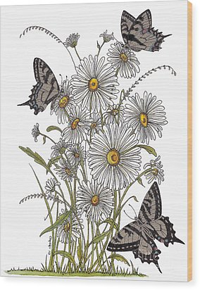 Wood Print featuring the painting Daisy At Your Feet by Stanza Widen