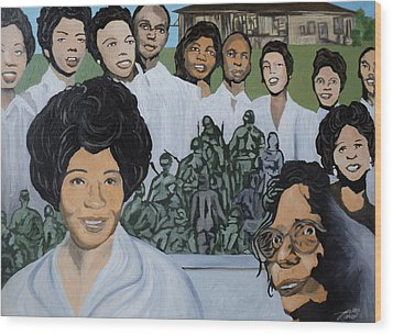 Daisy Bates And The Little Rock Nine Tribute Wood Print by Angelo Thomas