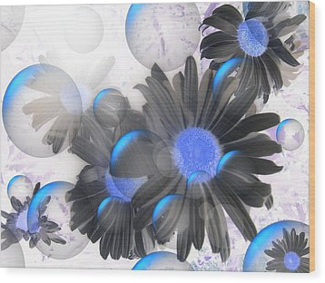 Daisy Bubbles Wood Print