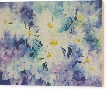 Daisy-chain Wood Print by Nancy Newman