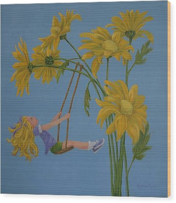 Wood Print featuring the painting Daisy Days by Karen Ilari