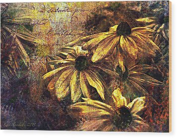 Wood Print featuring the digital art Daisy Daze by Kari Nanstad