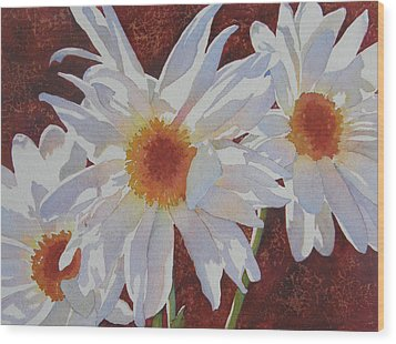 Daisy Dazzle Wood Print by Judy Mercer