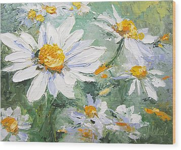 Daisy Delight Palette Knife Painting Wood Print
