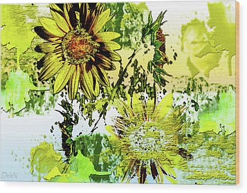 Sunflower On Water Wood Print