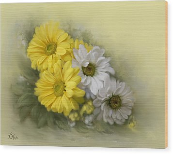 Wood Print featuring the painting Daisy Spring Bouquet by Bonnie Willis
