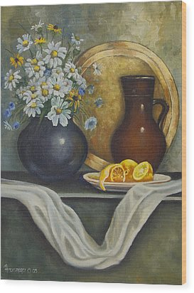 Daisy Stillife With Oranges Wood Print by Ann Arensmeyer