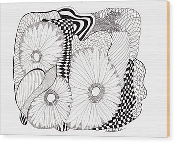 Daisy Zentangle Wood Print