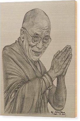Dalai Lama Tenzin Gyatso Wood Print by Kent Chua