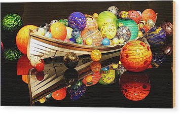 Glass Sculpture Boat Wood Print by Bruce Bley