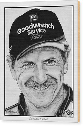 Wood Print featuring the drawing Dale Earnhardt Sr In 2001 by J McCombie