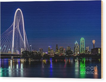 Dallas At Night Wood Print
