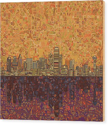 Dallas Skyline Abstract Wood Print
