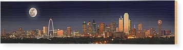 Dallas Skyline At Dusk Big Moon Night  Wood Print by Jon Holiday