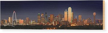 Dallas Skyline At Dusk  Wood Print by Jon Holiday