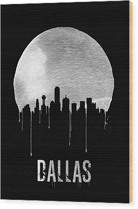 Dallas Skyline Black Wood Print by Naxart Studio