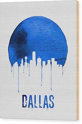 Dallas Skyline Blue Wood Print by Naxart Studio