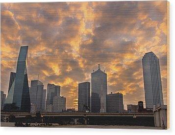 Dallas Skyline Wood Print by Drew Castelhano