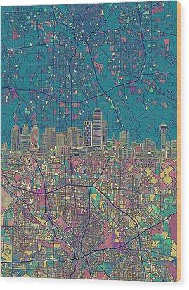 Dallas Skyline Map Green Wood Print