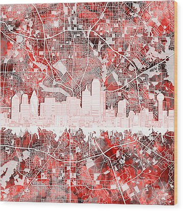 Dallas Skyline Map Red 2 Wood Print