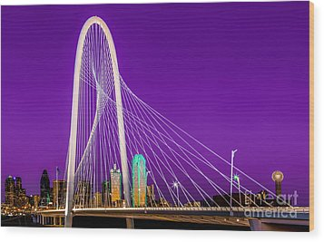 Dallas Skyline Purple Wood Print