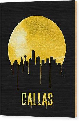 Dallas Skyline Yellow Wood Print by Naxart Studio