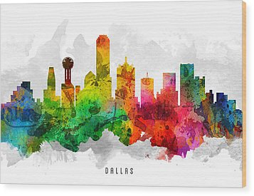 Dallas Texas Cityscape 12 Wood Print by Aged Pixel