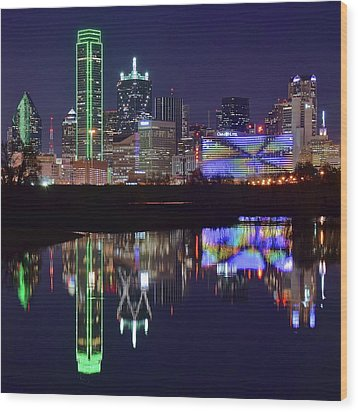 Wood Print featuring the photograph Dallas Texas Squared by Frozen in Time Fine Art Photography