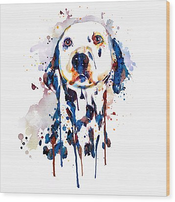 Wood Print featuring the mixed media Dalmatian Head by Marian Voicu