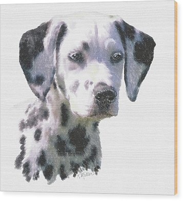 Dalmatian Puppy Wood Print by Kathie Miller