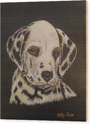 Wood Print featuring the painting Dalmation by Betty-Anne McDonald