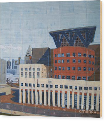 Wood Print featuring the painting Dam Public Library by Erin Fickert-Rowland