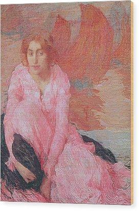 Dame En Rose Wood Print by Edmond Francois Aman Jean