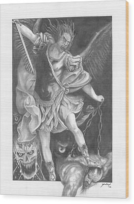 Damnation Of Evil Wood Print by Julian  B